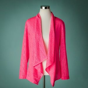 Alberto Makali L Bright Pink Lace Open Cardigan